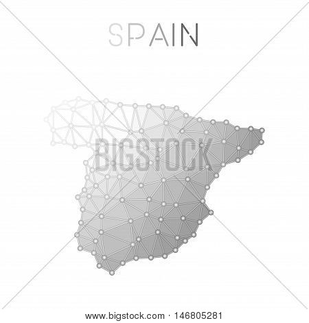 Spain Polygonal Vector Map. Molecular Structure Country Map Design. Network Connections Polygonal Sp