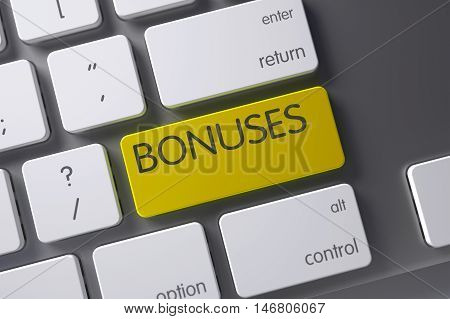 Bonuses Concept Modern Keyboard with Bonuses on Yellow Enter Button Background, Selected Focus. 3D Illustration.