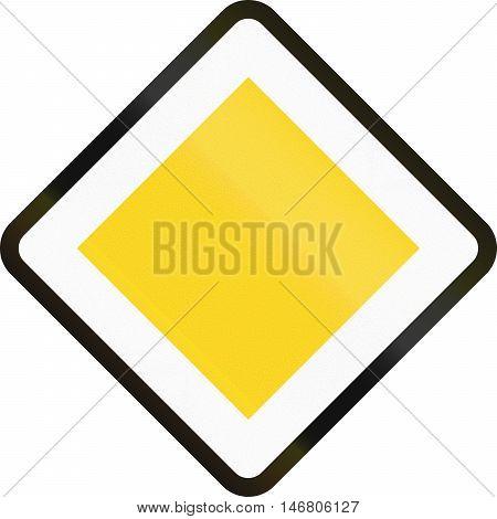 Road Sign Used In Denmark - Priority Road