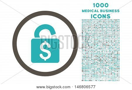 Unlock Banking Lock rounded vector bicolor icon with 1000 medical business icons. Set style is flat pictograms, grey and cyan colors, white background.