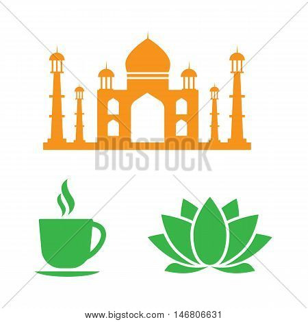 Indian vector icons. Travel india. Indian logo set