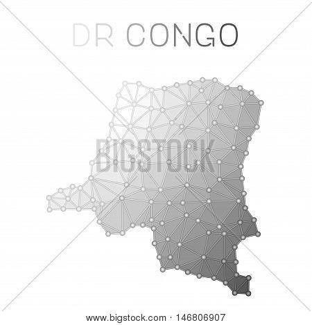 Congo, The Democratic Republic Of The Polygonal Vector Map. Molecular Structure Country Map Design.