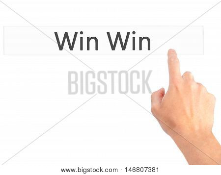 Win Win - Hand Pressing A Button On Blurred Background Concept On Visual Screen.