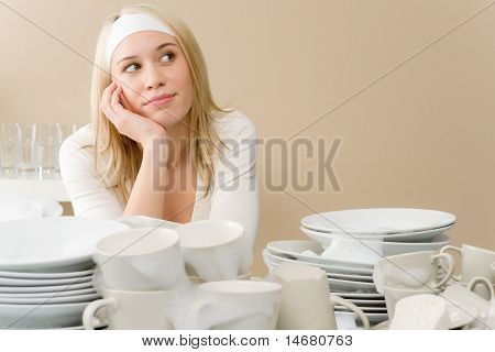 Modern Kitchen - Frustrated Woman In Kitchen