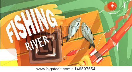 Fishing On The River Illustration With Only Hands Visible Cool Colorful Vector Illustration In Stylized Geometric Cartoon Design
