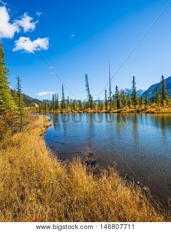 The shallow lake Vermilion among mountains and woods. Sunny day in the Rocky Mountains of Canada