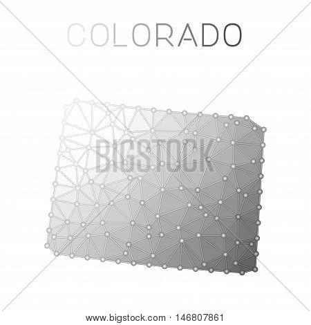Colorado Polygonal Vector Map. Molecular Structure Us State Map Design. Network Connections Polygona