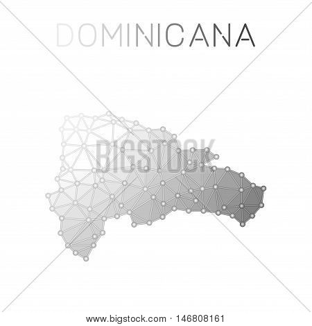 Dominican Republic Polygonal Vector Map. Molecular Structure Country Map Design. Network Connections