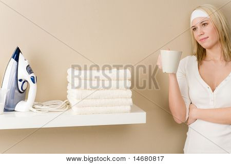 Laundry Ironing - Woman Coffee Break