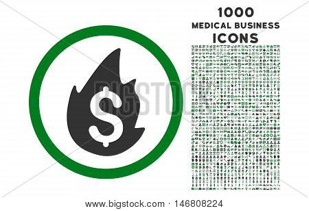 Business Fire Disaster rounded vector bicolor icon with 1000 medical business icons. Set style is flat pictograms, green and gray colors, white background.
