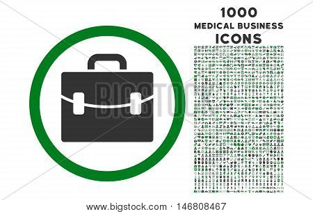 Case rounded vector bicolor icon with 1000 medical business icons. Set style is flat pictograms, green and gray colors, white background.