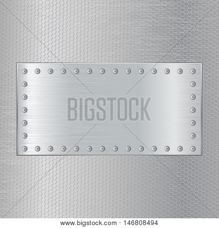 Metal brushed background with hexagon holes and steel plate with screw. Vector illustration