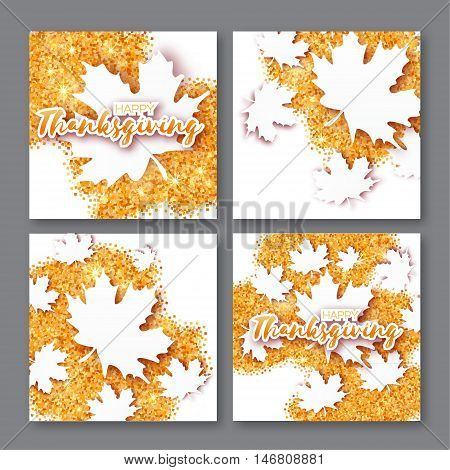 4 Autumn Greetings card with Happy Thanksgiving Day title. Origami white maple leaves on gold glitter square background. Abstract Paper cut Trendy Design Template for banner flyer poster invitation