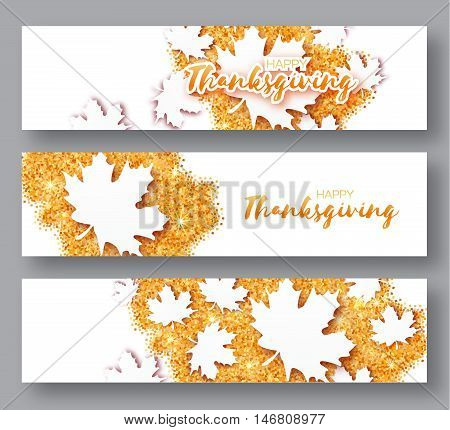 Happy Thanksgiving Day. Three Autumn Greetings card with origami white maple leaves on gold glitter background with title. 3 Abstract Paper cut Trendy Design Template for banner flyer