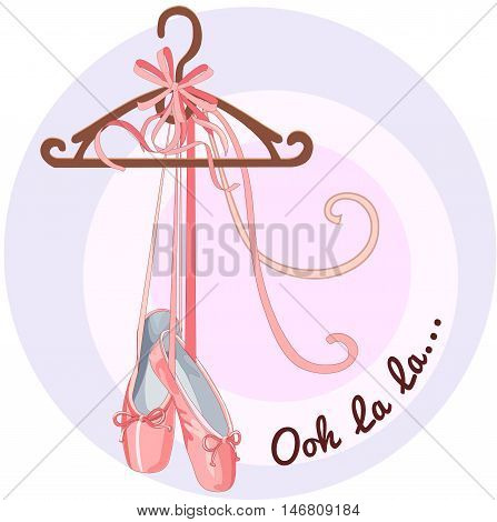 Illustration shoes with ribbons Ooh la la Vector Illustration of a cartoon icon isolated on white background