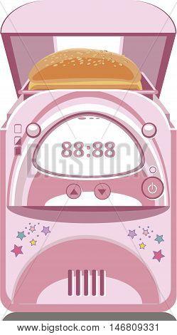 Illustration of pink bread maker. Vector Illustration of a cartoon icon