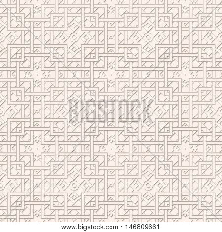 Paper print with shadow. Arabesque ornament. Perforated pattern. Openwork decoration. Vintage illustration. Arabian design. Eastern backdrop. Islamic wallpaper. Ethnic art. Retro background. Vector.