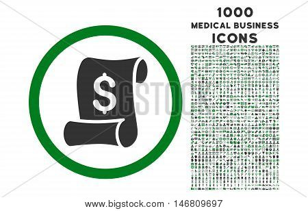 Financial Receipt Roll rounded vector bicolor icon with 1000 medical business icons. Set style is flat pictograms, green and gray colors, white background.