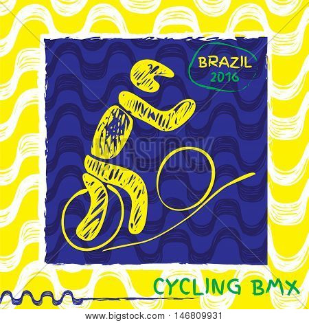 Brasil summer games sport icon pictogram. Icons olympics sport with Ipanema pattern. Vector hand drawn Illustration cycling sport icon.