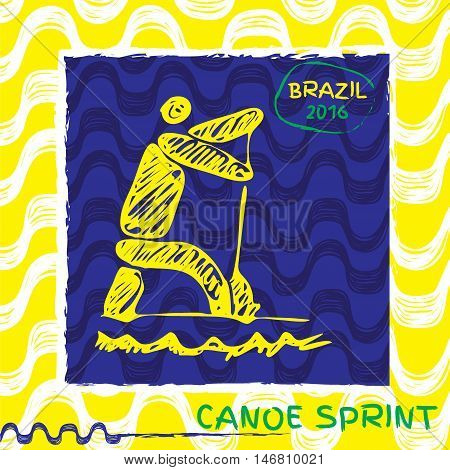 Brasil summer games sport icon pictogram. Icons olympics sport with Ipanema pattern. Vector hand drawn Illustration canoe sport icon.