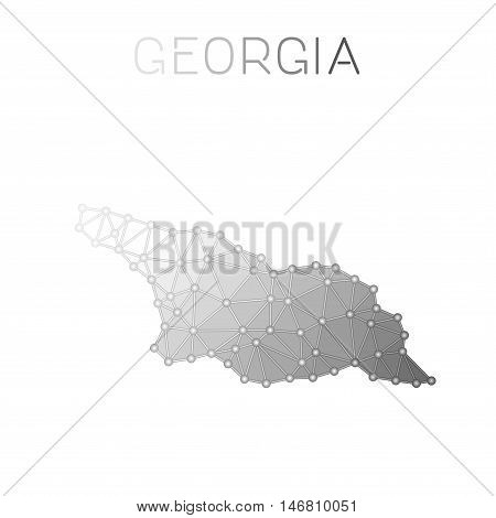 Georgia Polygonal Vector Map. Molecular Structure Country Map Design. Network Connections Polygonal