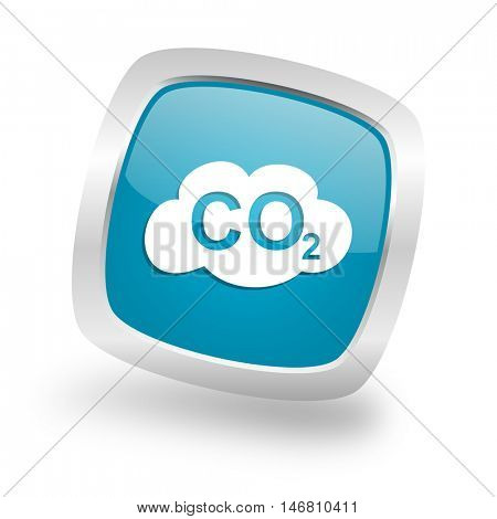 carbon dioxide square glossy chrome silver metallic web icon