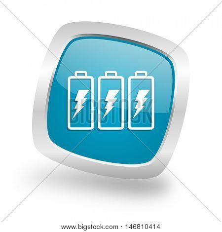 battery square glossy chrome silver metallic web icon