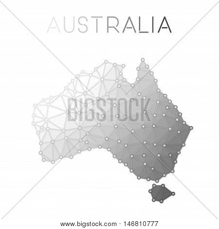 Australia Polygonal Vector Map. Molecular Structure Country Map Design. Network Connections Polygona