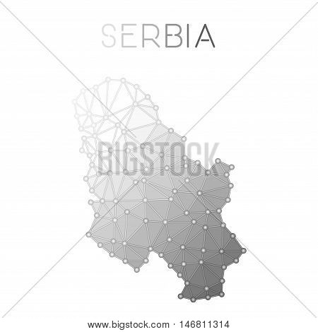 Serbia Polygonal Vector Map. Molecular Structure Country Map Design. Network Connections Polygonal S