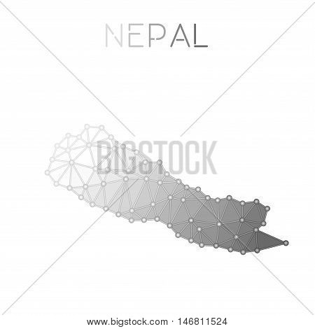 Nepal Polygonal Vector Map. Molecular Structure Country Map Design. Network Connections Polygonal Ne