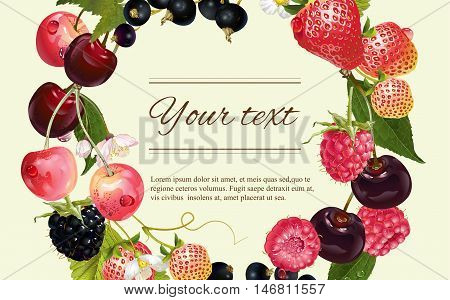 Vector mix berry banner. Design for tea, natural cosmetics, beauty store, dessert menu, organic health care products, perfume, aromatherapy. With place for text