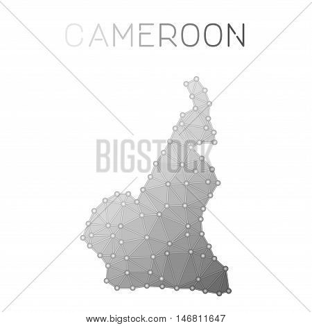 Cameroon Polygonal Vector Map. Molecular Structure Country Map Design. Network Connections Polygonal