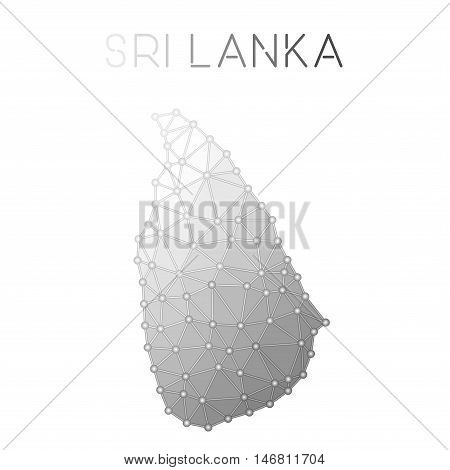 Sri Lanka Polygonal Vector Map. Molecular Structure Country Map Design. Network Connections Polygona