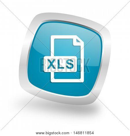 xls file square glossy chrome silver metallic web icon