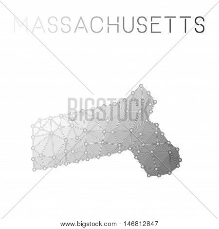 Massachusetts Polygonal Vector Map. Molecular Structure Us State Map Design. Network Connections Pol