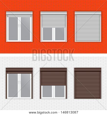 Windows with Rolling Shutters. White and red brick walls. Vector isolated on white background