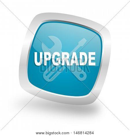 upgrade square glossy chrome silver metallic web icon