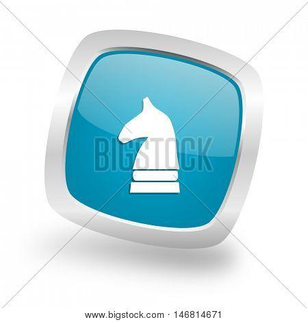 chess horse square glossy chrome silver metallic web icon