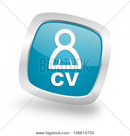 cv square glossy chrome silver metallic web icon