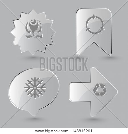 4 images: abstract rose,  snowflake, recycle symbol. Nature set. Glass buttons on gray background. Vector icons.
