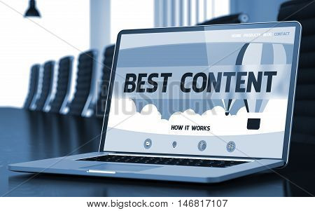 Best Content on Landing Page of Laptop Screen in Modern Conference Hall Closeup View. Toned. Blurred Image. 3D Render.