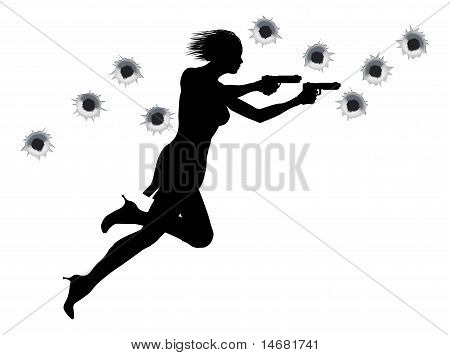 Action Hero Shoot Out Woman