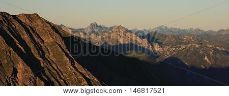 Mountain ranges in the Bernese Oberland. View from Mt Niesen. Summer scene in the Swiss Alps.