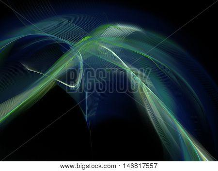 Abstract swirling dark blue fractal on black background