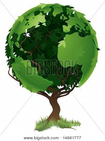 Conceito de árvore do mundo globo