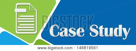 Case study concept image with text and related symbol over green blue background.