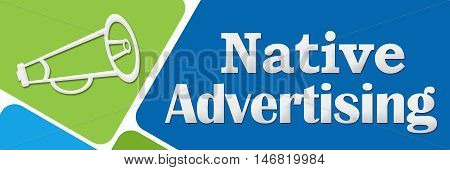 Native advertising concept image with text and related symbol.