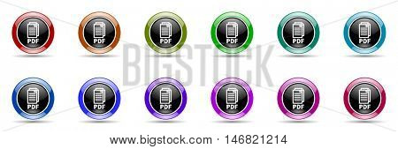 pdf round glossy colorful web icon set,