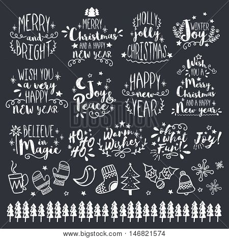 Merry Christmas and Happy New Year Calligraphic, Typographic and Lettering design set, Christmas decoration collection with different elements or ornaments, Vector illustration in chalkboard style.
