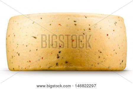 Cheese wheel isolated on a white background.
